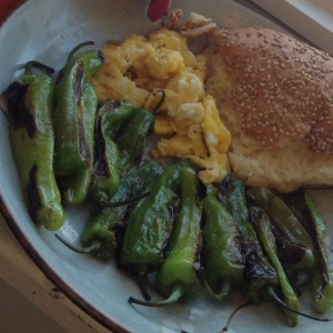 Nellie's Certified Humane Free Range Eggs and shishito peppers, now with Nadi Kandi bread from Hot Bread Kitchen in Harlem. Do this for you.