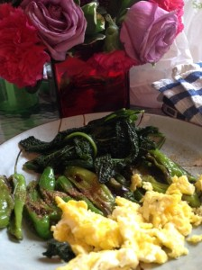 Nellie's Certified Humane Free Range Eggs and shishito peppers. Pillowy soft goodness.